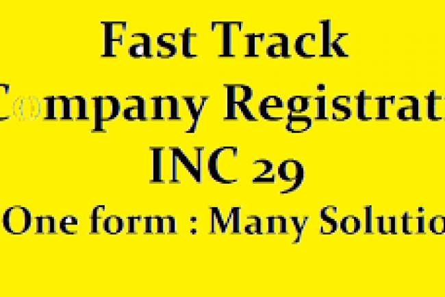 Fast Track Company Registration - Form INC 29